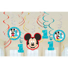 12 Disney Mickey Mouse 1st Birthday Party Dangling Cutout Swirl Decorations