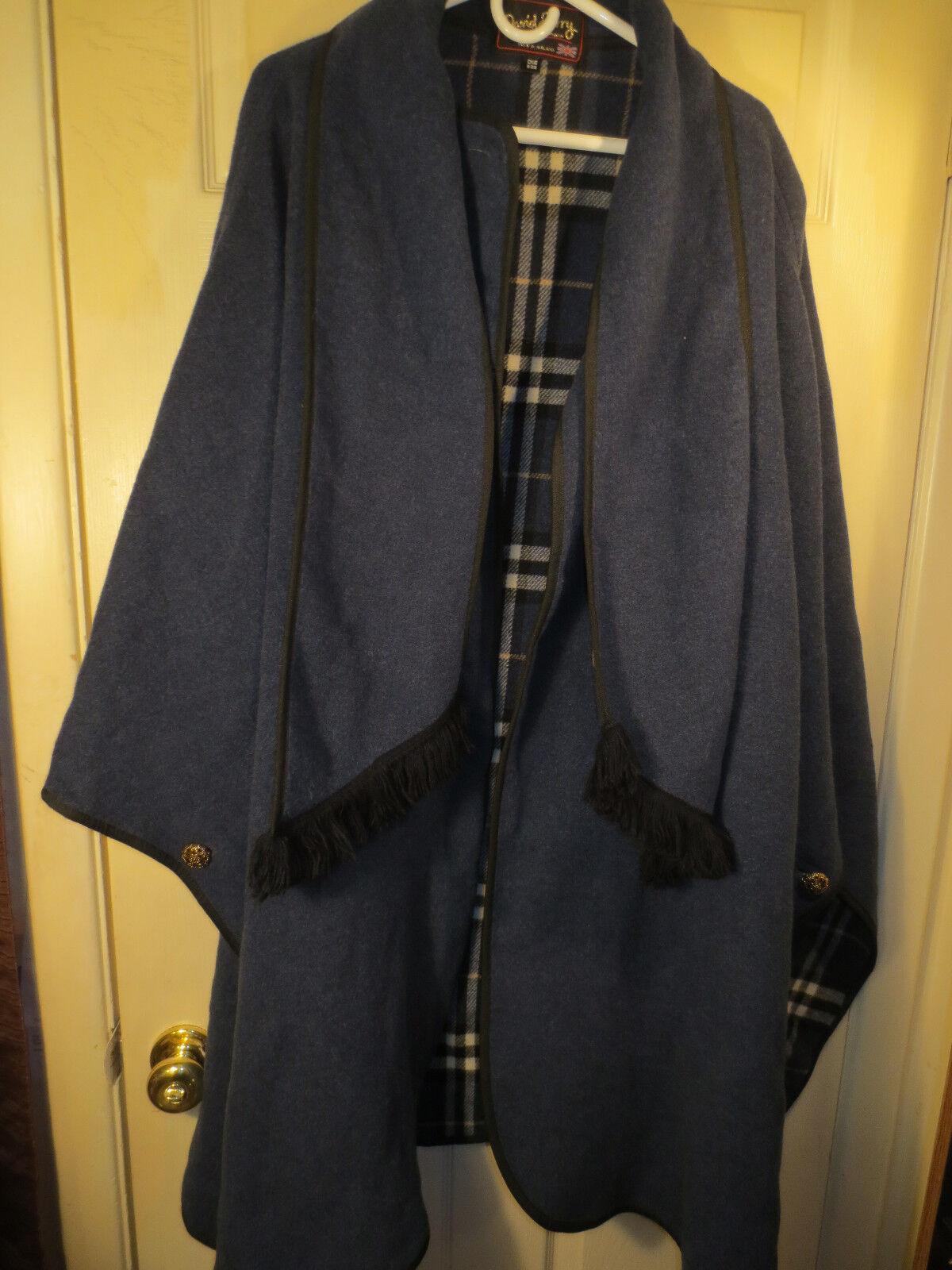 Designer David Barry bluee Wool Blend Cape Shawl Coat Women's One Size