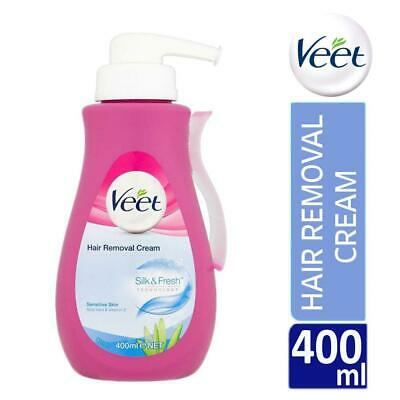 Veet Silk & Fresh Hair Removal Cream 400ml Pump Sensitive Skin With Aloe Vera