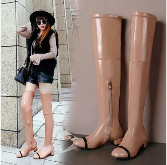 Occident Fashion Pull On Over The Knee Stretch Boots Womens Low Heels Thigh Boot