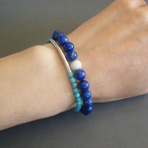 Details about  /U/&C Sundance Blue Turquoise Round Stones .925 Silver Bar Tube Stretch Bracelet