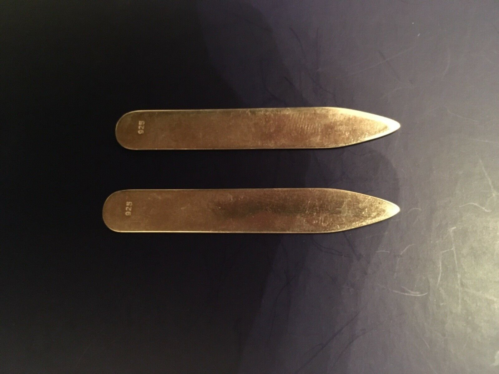 Gents Sterling Silver Shirt Collar Stiffeners - Available Plain & Engraved