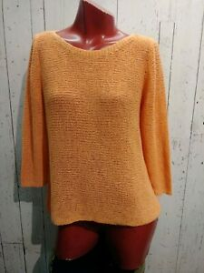 Eileen-fisher-Women-039-s-Top-3-4-Sleeve-Color-Orange-Size-Large