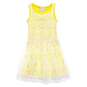 Sara Sara Neon Baby / Toddler Girls' White Knit Netting Design Yellow Dress