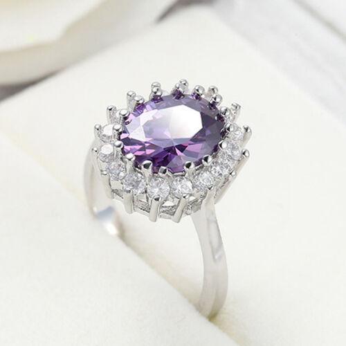Flower Handmade Jewelry Natural Purple Amethyst Gemstone Silver Ring Size 6-10