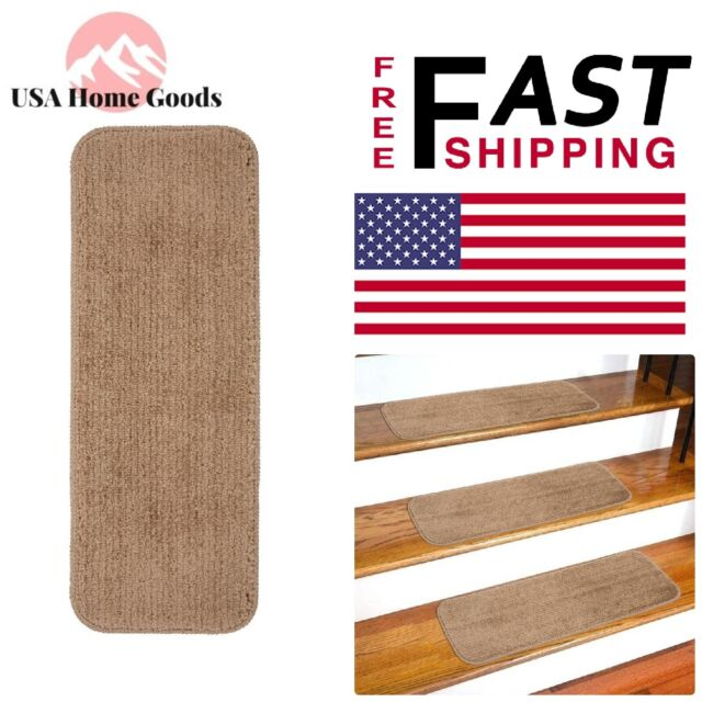 Beige Non-Slip Stair Tread Cover (Set of 13) 9 in  x 26 in  Rugs Carpets  Stairs