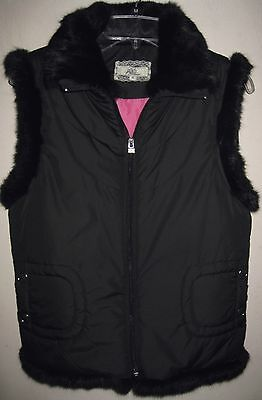 Puffer vest S Black Faux fur trim Quilted Zipper Pockets Pink lining Layer Fifi