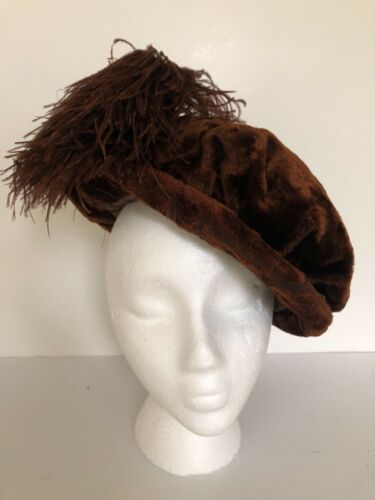 Antique Edwardian brown velvet hat