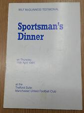 1991 MANCHESTER UNITED Wilf McGuinness Testimonial Dinner Menu - Multi Signed