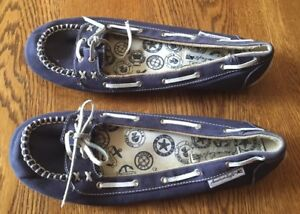 American-Eagle-Blue-Canvas-Boat-Shoes-Casual-Shoes-Women-039-s-Size-7-1-2