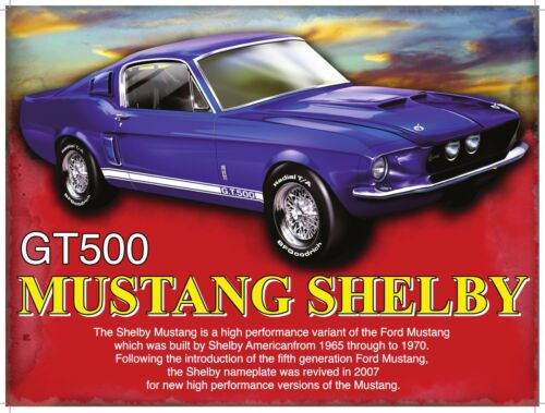 Picture Small Metal Tin Sign Shelby Mustang GT500 Classic Muscle Car Plaque