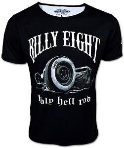 BILLY-EIGHT-Holy-Hell-Rod-Rockabilly-Hot-Rat-US-Car-Kult-T-Shirt-fuer-Herren