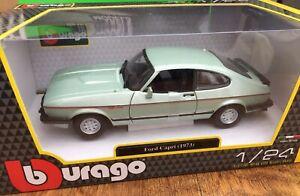 Burago-21093B-Ford-Capri-Mk-III-2-8i-Diecast-Modelo-Coche-de-carretera-Verde-1982-1-24th