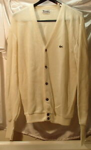 Vintage Izod Lacoste Butter Yellow Cardigan Sweater Mens Size ...