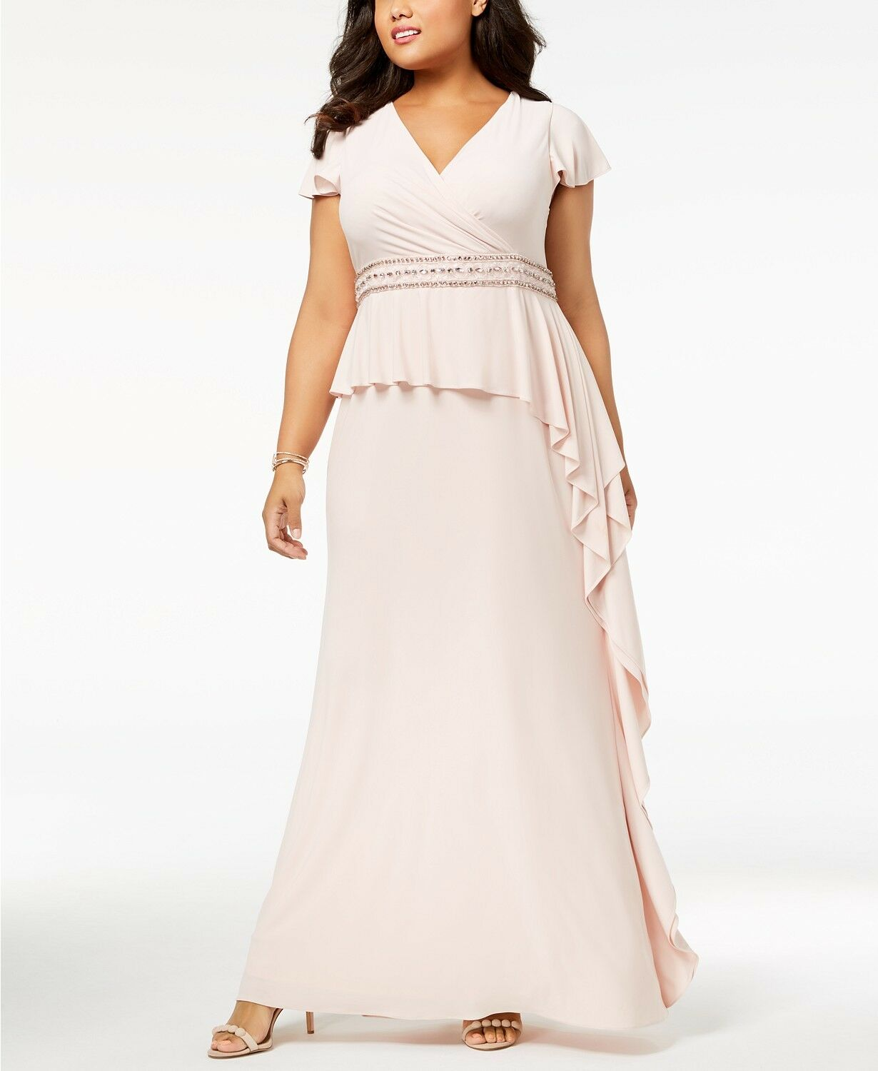 Adrianna Papell Plus Size Ruffled Gown MSRP  229 Size 14W A 212 NEW