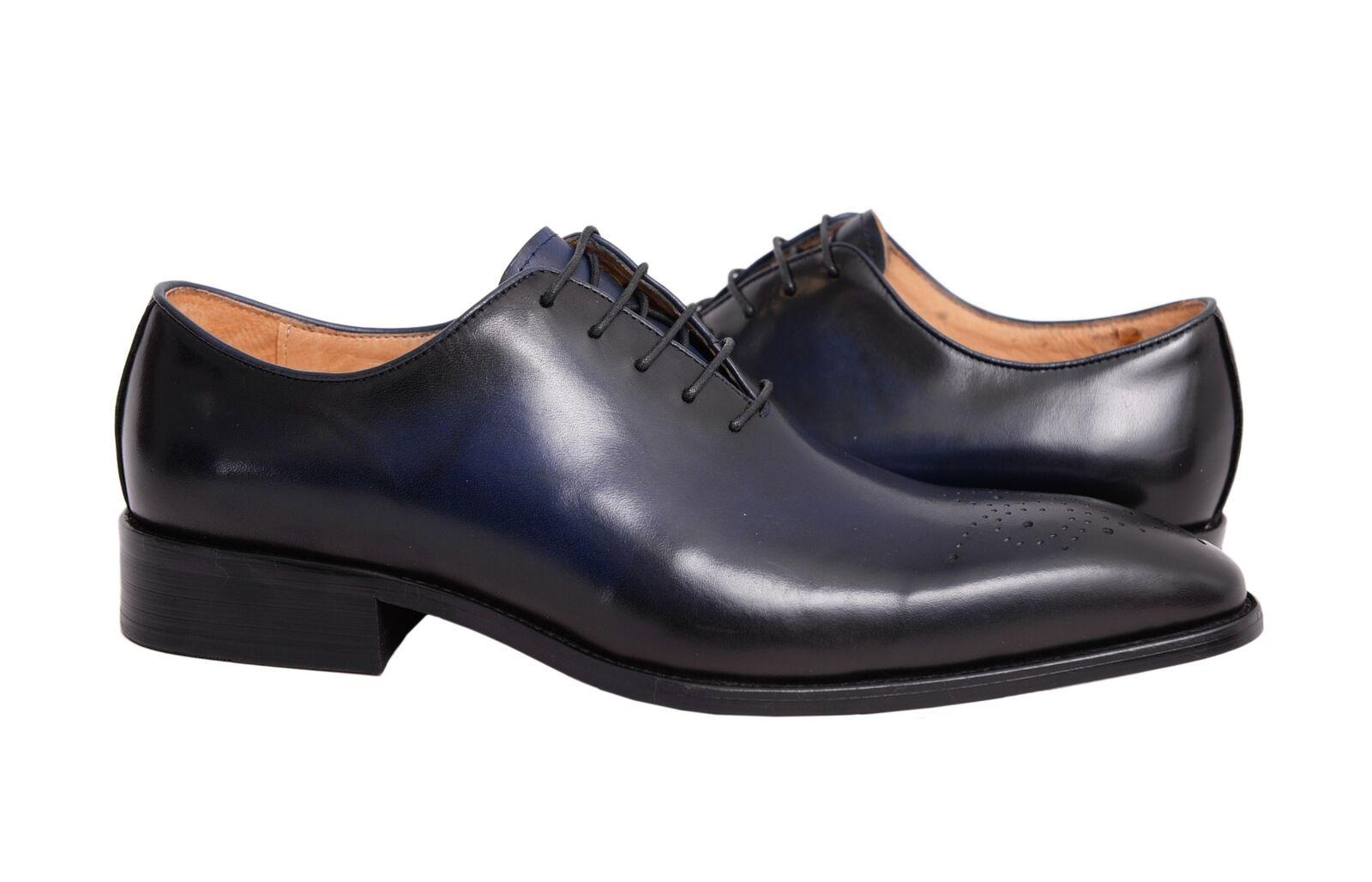 Carrucci Solides Marineblau Ganze Schnitt Oxford Leder Kleid Schuhe