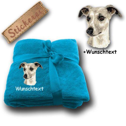 deseo de texto Suave manta para sofá manta perro Whippet bordado 180x130cm