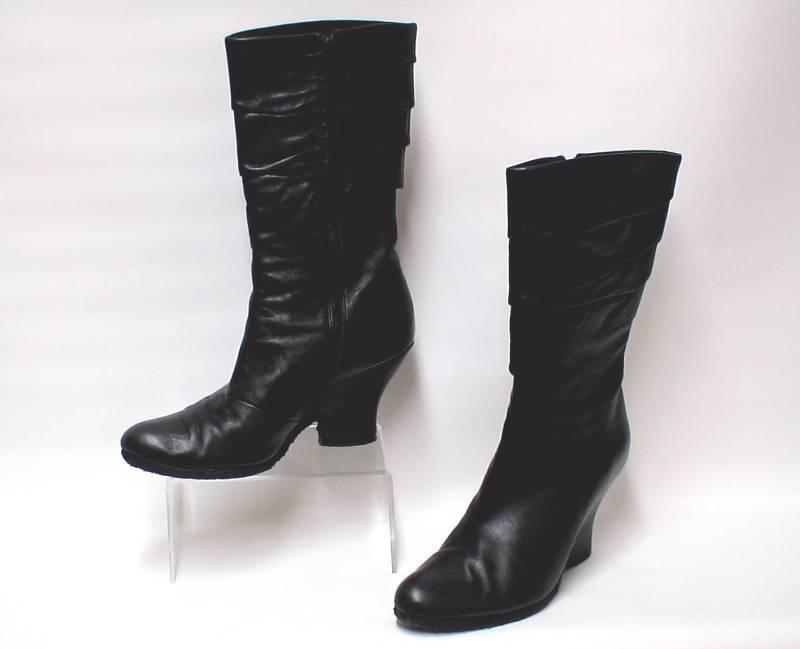 AUDLEY London Women's Black Pleated Leather Boots Block Heel UK 7