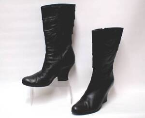 7 Rrp Pleated £160 London Uk Heel Black Block Leather Boots Women's Audley vRPtwxqzqA