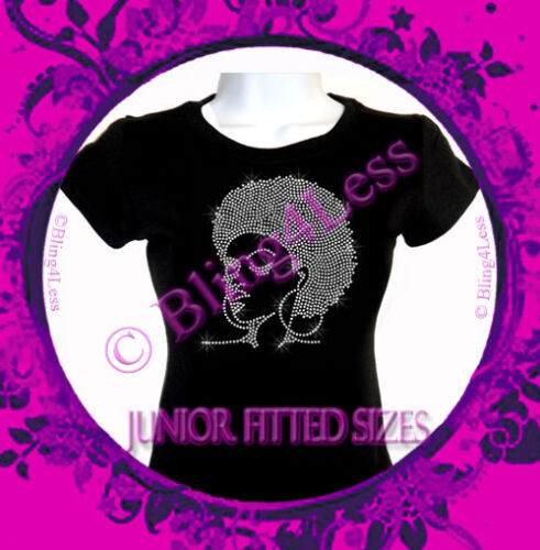 Bling Afro Lady Girl Top Rhinestone Iron on T-Shirt Soul Sister CLEAR