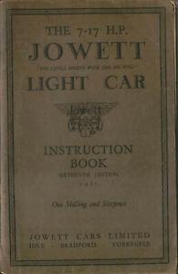 Jowett 7-17 HP Light Car Instruction Book 16th Edition 1931