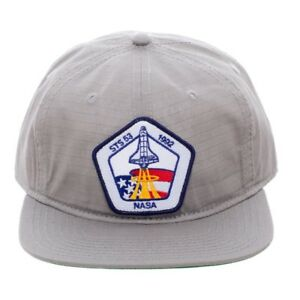 5ee99a5596e NASA PATCH USA FLAG SPACE SHUTTLE LOGO STS 53 GREY SNAPBACK HAT CAP ...