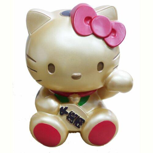 JAPN SANRIO HELLO KITTY LUCKY CAT POLYRESIN COIN BANK WHITE//GOLD