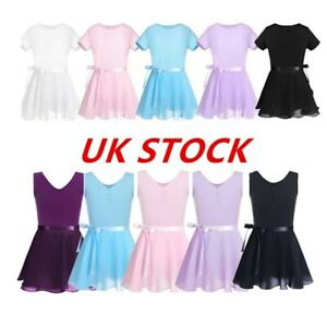 Girls-Ballet-Dress-Dance-Leotard-Skirt-Tutu-Skirt-Chiffon-Gymnastics-Dancewear