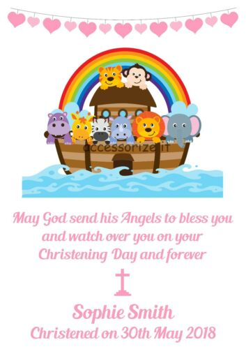 Christening New Baby Gift Personalised Noah/'s Ark Christening Word Art Print