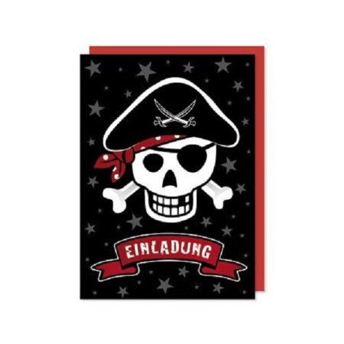 amazing ♥ acht Einladungen Karten PIRAT Kindergeburtstag /& 1 Stickerbogen