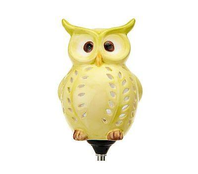 Ceramic Solar Owl Garden Decor Light Up Solar Powered Owl