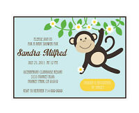 Blue Monkey Personalized Baby Shower Invitations - Set Of 16