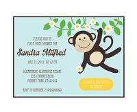 Blue Monkey Personalized Baby Shower Invitations - Set Of 16