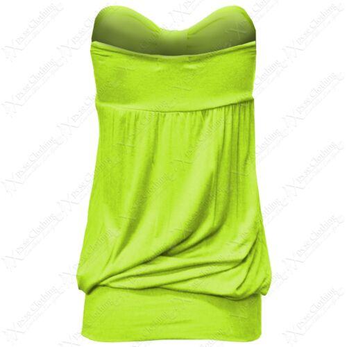 Damen Neon Knoten Bandeau Top Trägerlos Lang Unterhemden Plus Große Größen