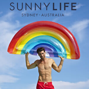 NEW SunnyLife Rainbow Float Luxe Lie-On Inflatable Summer Fun Pool Beach