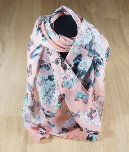 Women-039-s-Scarf-Soft-Chiffon-Pale-Orange-multi-colour-Butterfly-Print