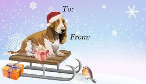 Basset-Hound-Dog-Christmas-Labels-by-Starprint-Set-of-42-labels-self-adhesive
