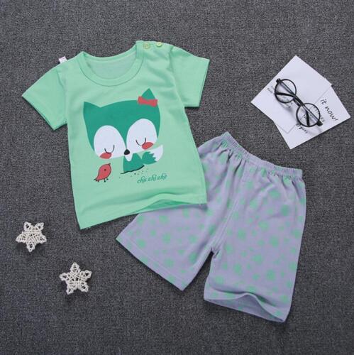 2pcs Bébé Enfant Infantile Garçons Été Coton Tenues t shirt pantalon court
