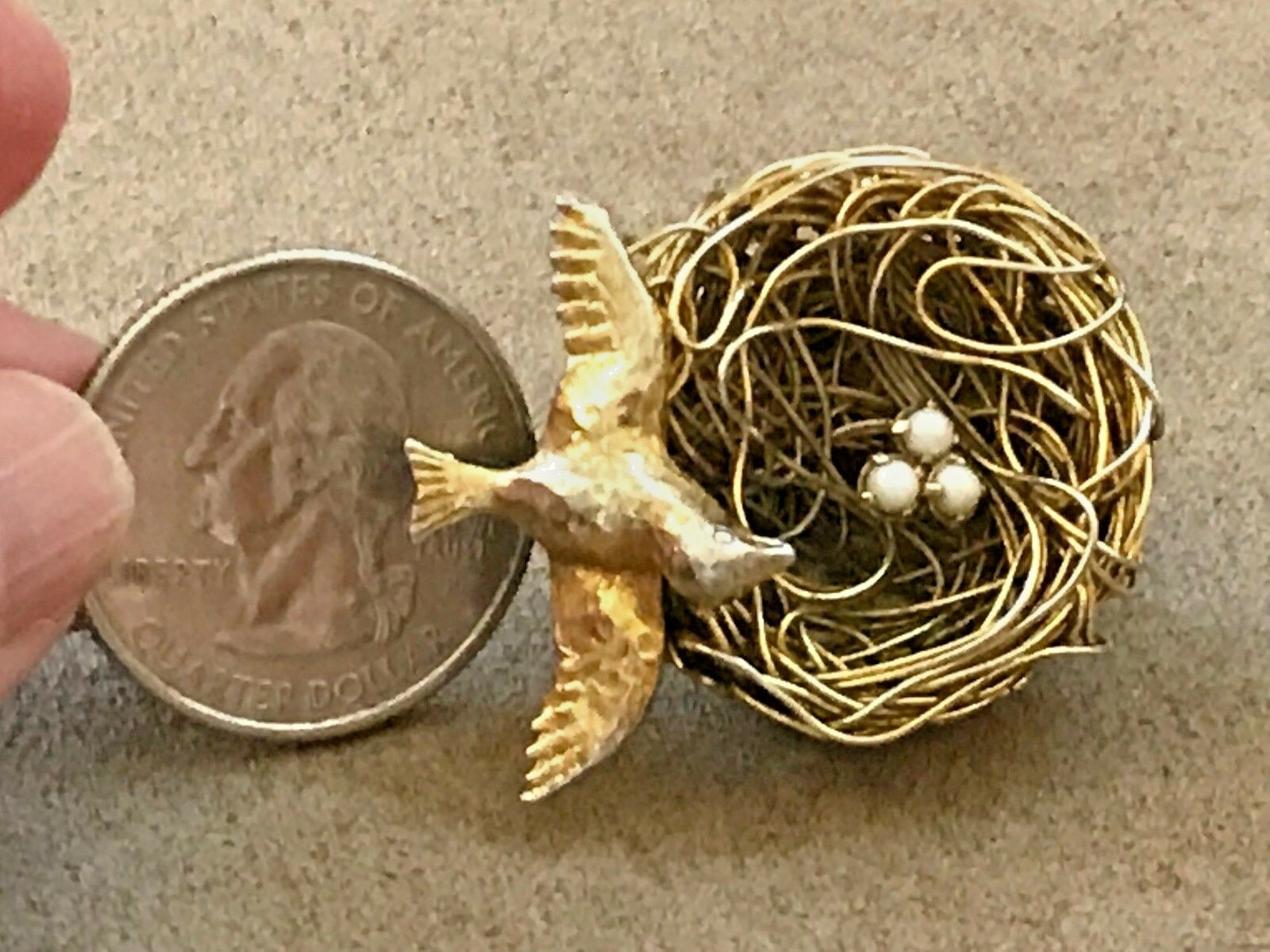 Charming Vintage Jeanne Bird Nest Brooch Pin