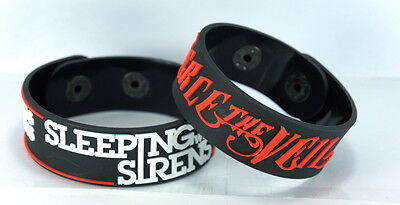 SLEEPING WITH SIRENS PIERCE THE VEIL  NEW! 2pcs(2x) Bracelet Wristband 2SW5
