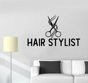 Vinyl Wall Decal Hair Stylish Beauty Salon Scissors Barber Stickers (g5111)