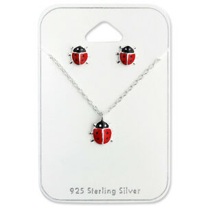 925-Sterling-Silver-Ladybird-Ladybug-Stud-Earrings-Beetle-Necklace-Set-Children