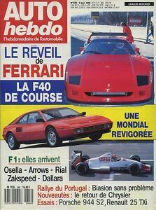 AUTO-HEBDO-n-666-du-8-Mars-1989-FERRARI-F40-amp-MONDIAL-PORSCHE-944-S2-R25-TXI