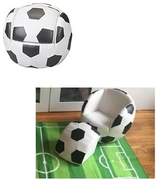 Kids Room Football Chair Ottoman Soccer Ball Bean Footstool Faux Leather  Toddler