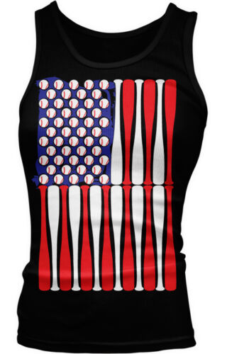 American Flag Baseballs Bats America USA Fourth Of July Ladies Beater Tank Top