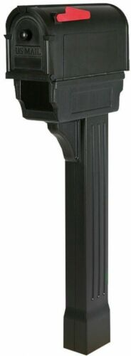 Mailbox and Post Combo Kit Heavy-Duty Black Weather//Vandal Resistant w// Knob