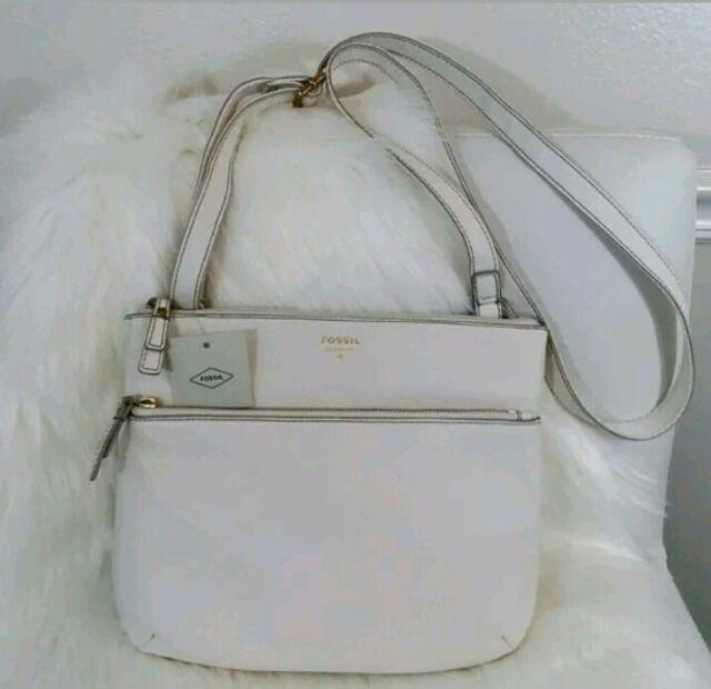 Fossil Tinsley Coconut Leather Crossbody Messenger Bag $168 NEW Women SHB1942146