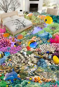 3D color Corals Sea 5 Floor WallPaper Murals Wall Print 5D AJ WALLPAPER UK Lemon