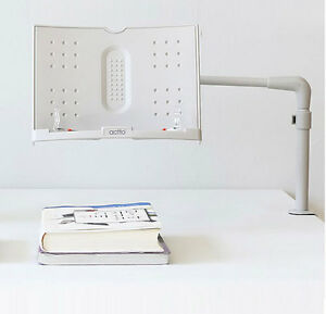 Actto Book//Tablet Stand Adjustable Angle Easy to Install w// Clamp White ABS