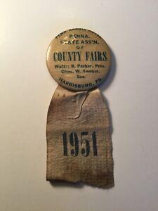 1951 Rare Pennsylvania County Fairs Association Button Pin Harrisburg PA
